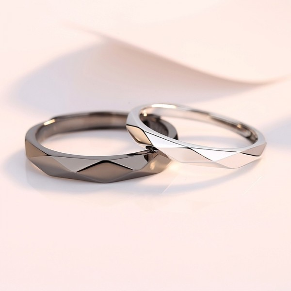Engravable Day And Night Rhombic Matching Couple Promise Rings In Sterling Silver