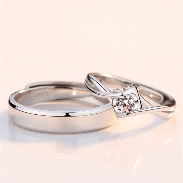 Engravable Infinity Matching Promise Rings For Couples In Sterling Silver