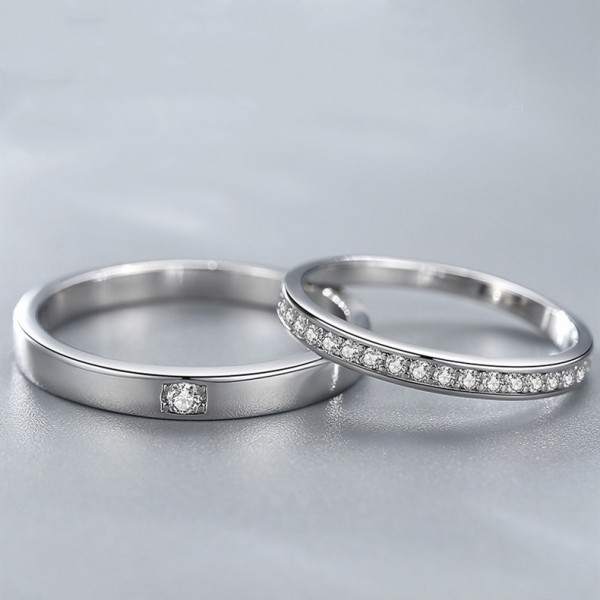 Stackable Matching Promise Rings For Couples In Sterling Silver