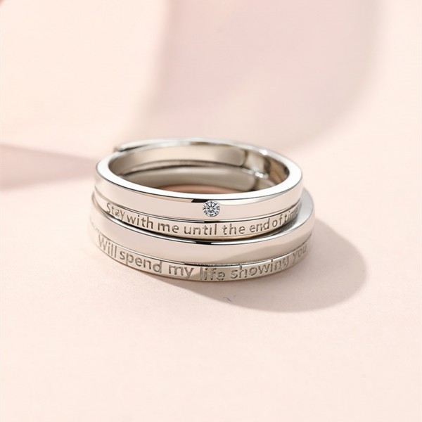 Stay With Me Until The End Of Time Matching Promise Rings Set In Sterling Silver