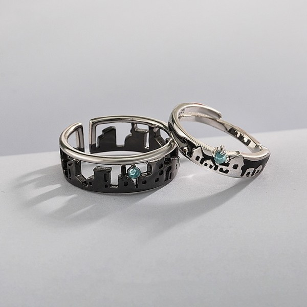 Personalized Two Cities Long Distance Promise Rings For Couples In Sterling Silver