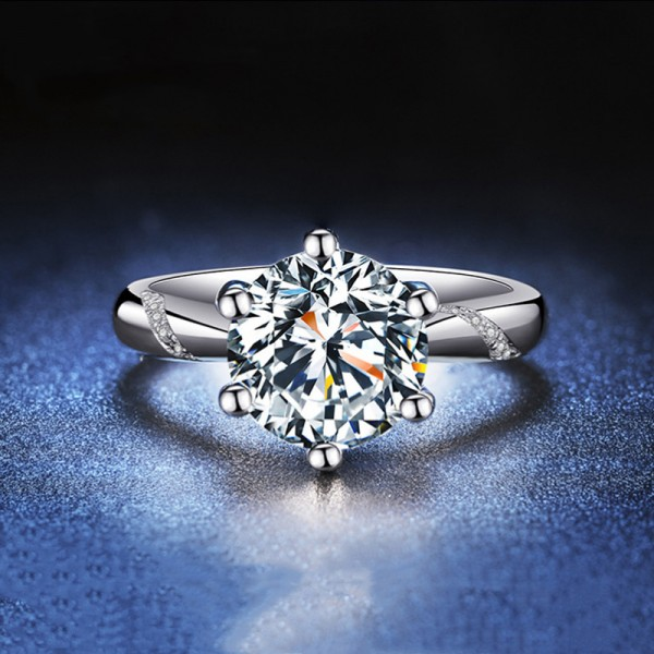 Round Cut 1/2 Carat tw Solitaire With Side Accent Moissanite Engagement Rings In 18K Gold