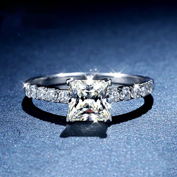 Engravable Princess Cut 1 Carat tw Solitaire With Side Accent Moissanite Engagement Rings