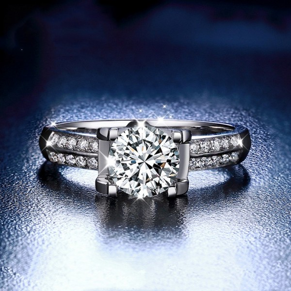 18K White Gold Round Cut 1 Carat tw Solitaire With Side Accent Moissanite Engagement Rings