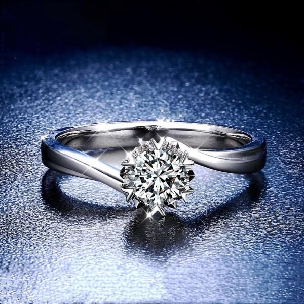 Engravable Round Cut 1/2 Carat tw Solitaire Slant Moissanite Engagement Rings In 18K White Gold
