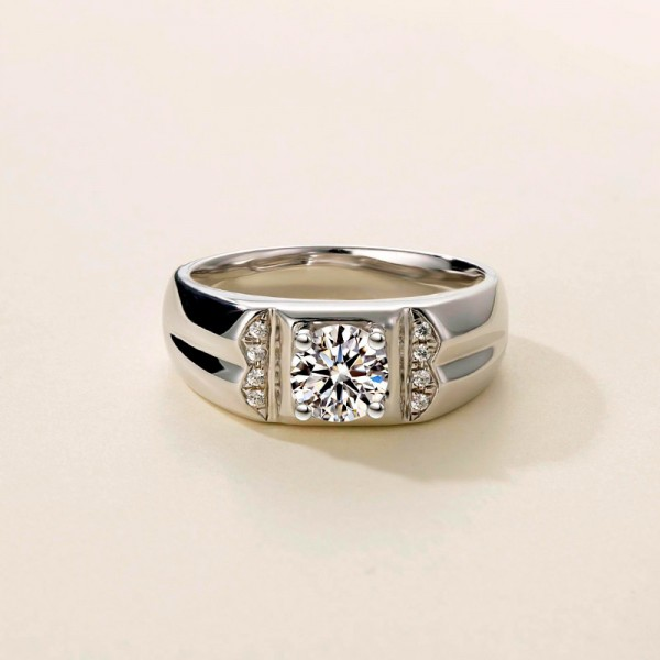 Round Cut 1 Carat tw Solitaire With Side Accent Mens Moissanite Rings In 9K White Gold