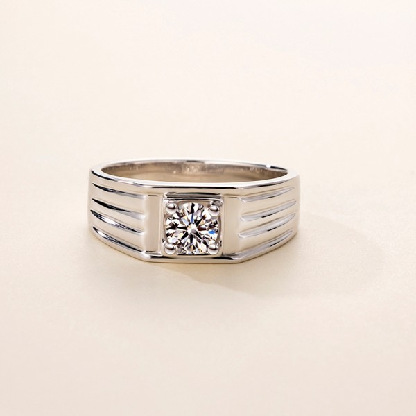 Round Cut 1/2 Carat tw Solitaire Mens Moissanite Rings In 9K White Gold