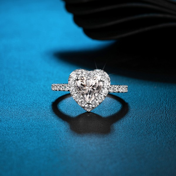 Engravable Heart Cut 2 Carat tw Halo Moissanite Rings In 18K Gold