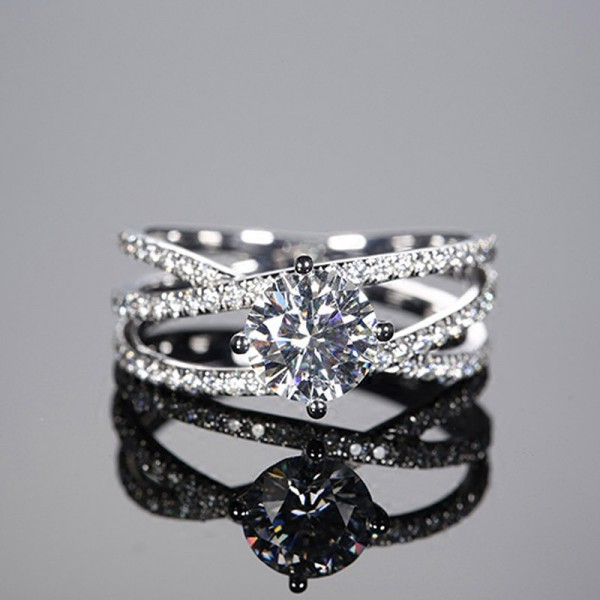 Round Cut 1 Carat Knot Moissanite Rings For Womens In 18K White Gold