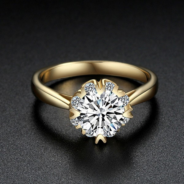 Engravable Round Cut 1/2 Carat Cluster Moissanite Ring In 18K Yellow Gold