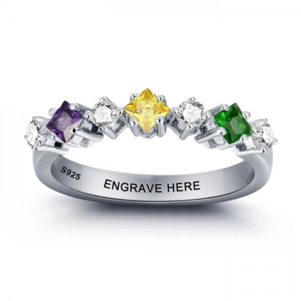 Engravable Silver Trends Princess Cut 3 Stones Birthstone Ring In S925 Sterling Silver