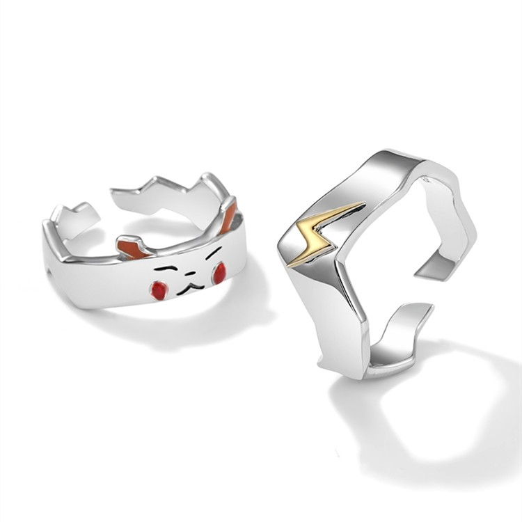 Pikachu and Eevee Combo Rings x2 Silver Rings